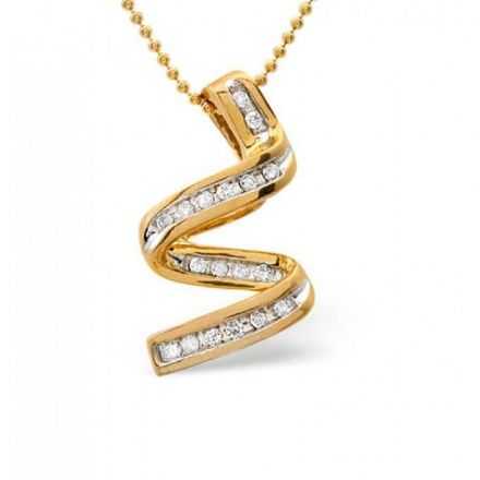 9K Gold 0.16ct Diamond Necklace, B1104
